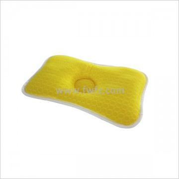 Height adjustable bright yellow spacer fabric baby pillow with hole